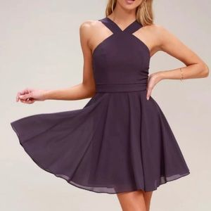 NWT LuLu's Forevermore Dusty Purple Skater Dress S